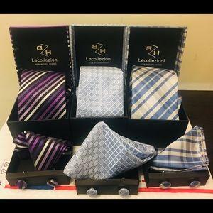 Men Ties With Cuff links and handkerchief